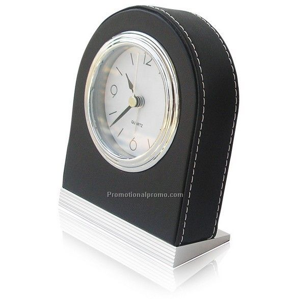 Portable PU leather hotel alarm clock