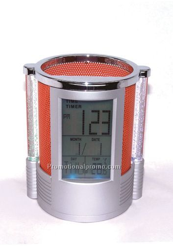 Promotional LED Colorful Pillar Calendar Clock Desktop Pen Holder