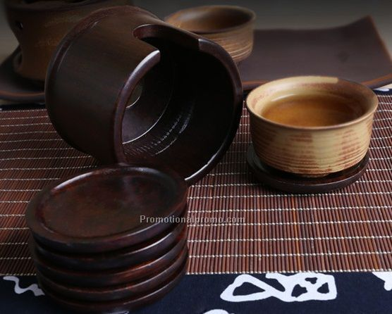 Set Of 6 Round ebony wood Coasters