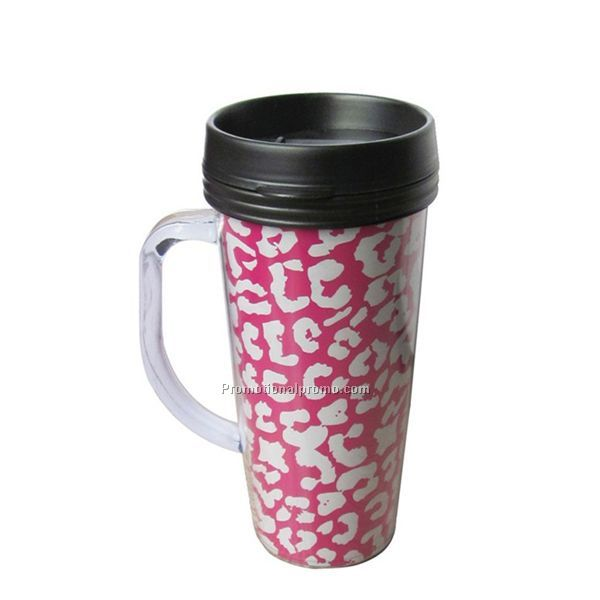 Plastic double wall thermo mug