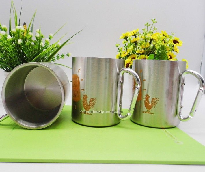 Double Wall Stainless 304 material mug with Carabiner for Camping