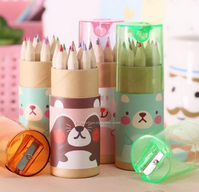 Promotional Kid Mini Color Pencil Set with transparant cover of sharpener