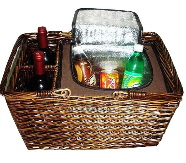 Picnic willow basket, Nice willow picnic basket, Wicker Picnic Basket with cooler
