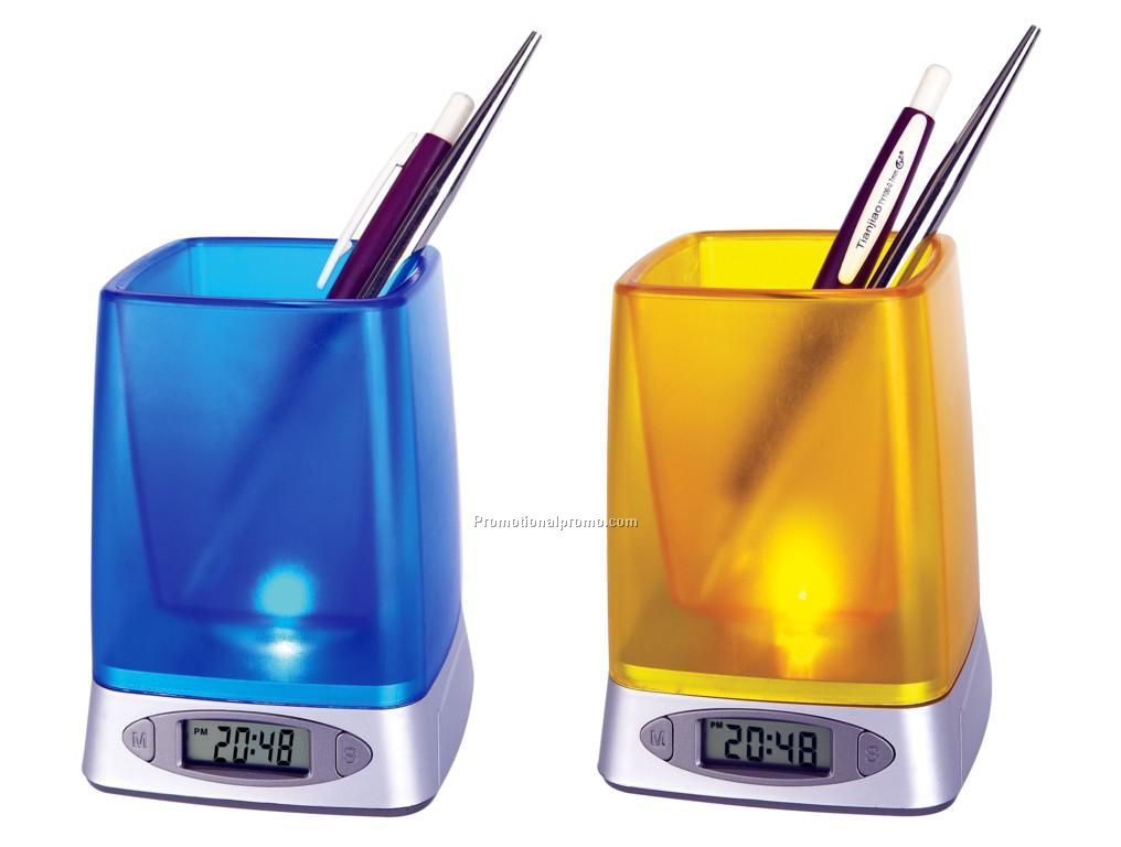 Acrylic new pen holder with alarm clock