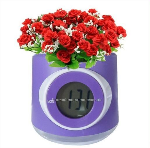 plastic flower pot with digital clock for Promotional gifts