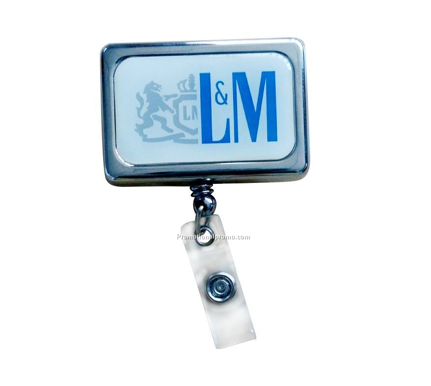 Retractable Badge Holder - Rectangle - Chrome Finish, Metal yilake