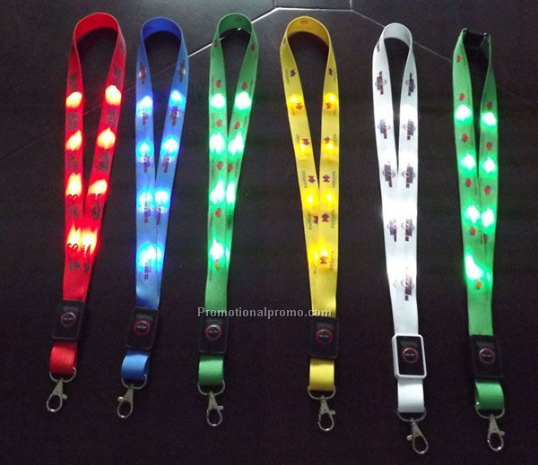 LED Flashing Lanyards, LED Glowing Lanyards, Promotional light up lanyards