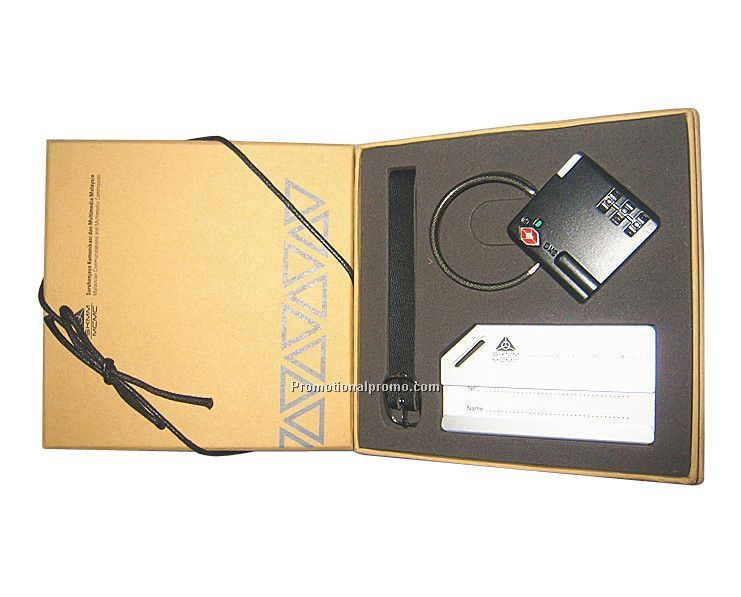 Luggage tag with luggage lock metal gift set