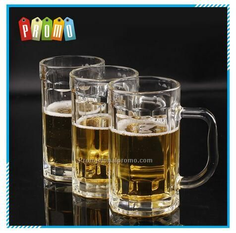 Wholesale 14 oz(400ml) transparent handle beer glass mug