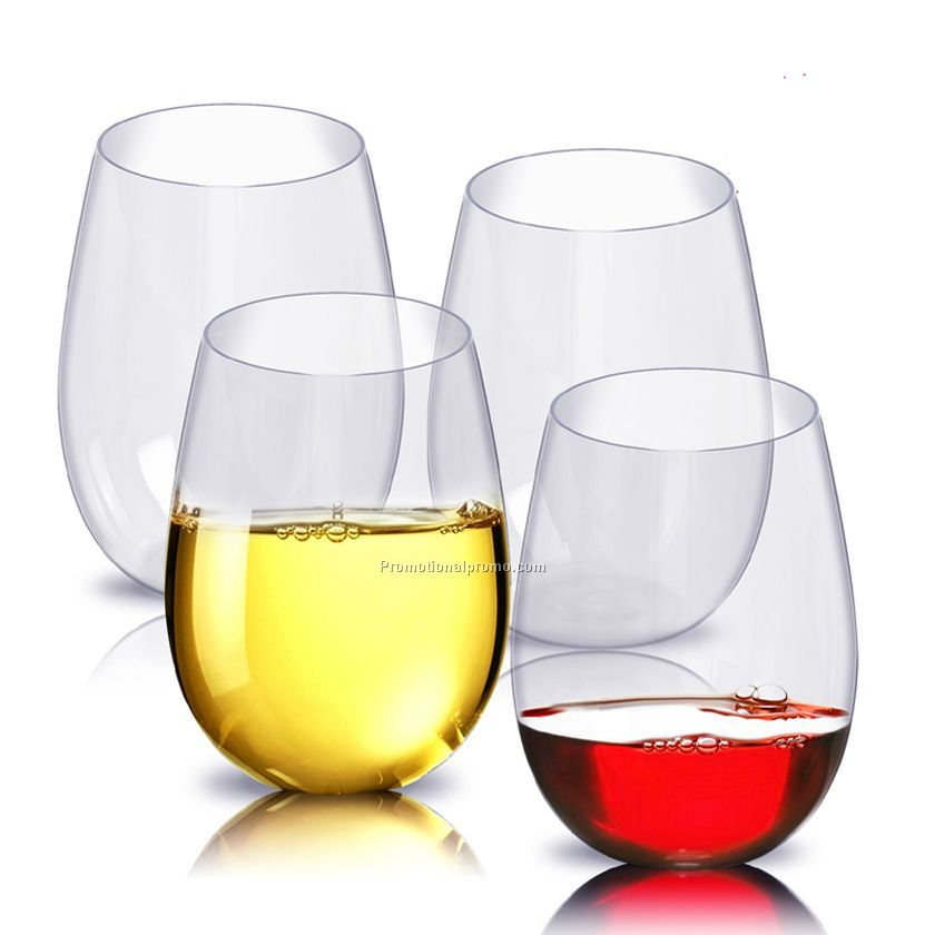 100% Tritan Stemless Plastic Wine Glasses