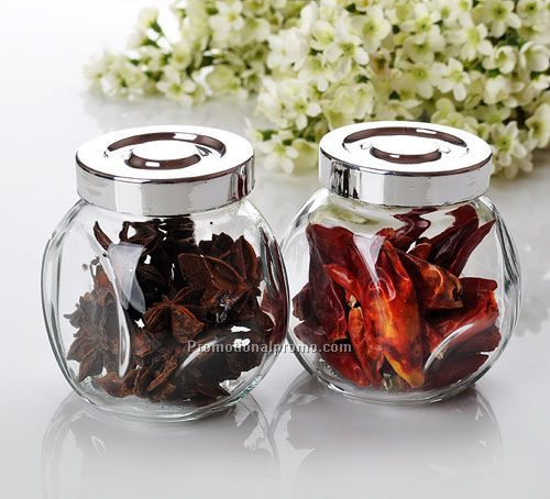 Promotion Glass Spice Jar With Chrome Color Plastic Lid