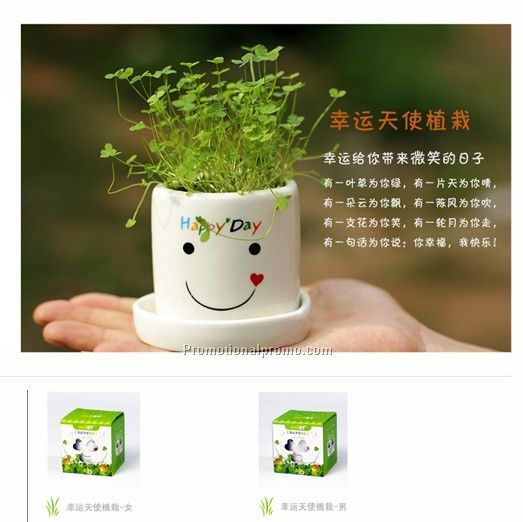 Smile face Ceramic cup with clover