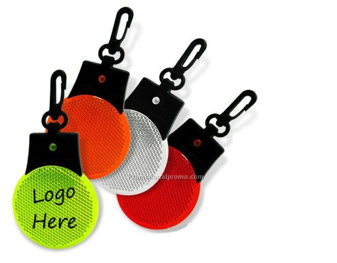 LED Reflective Safety Keychain Lamp, Plastic Reflection Key Holder