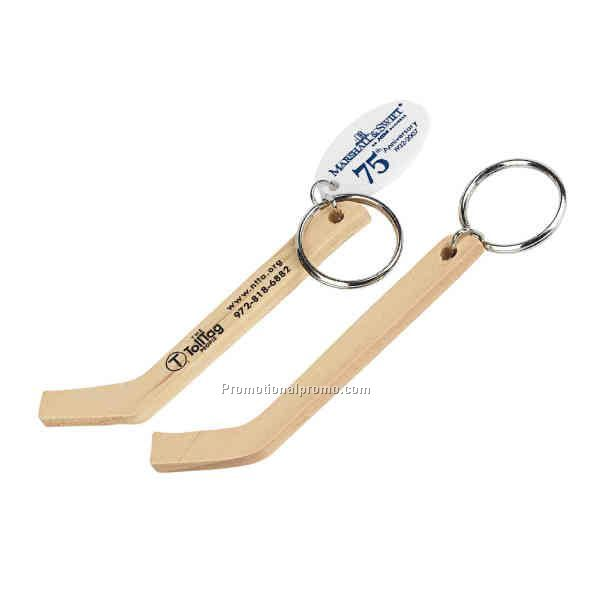 Genuine wood hockey stick keychain