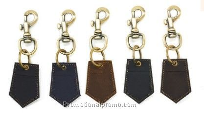 Stocked leather key tag
