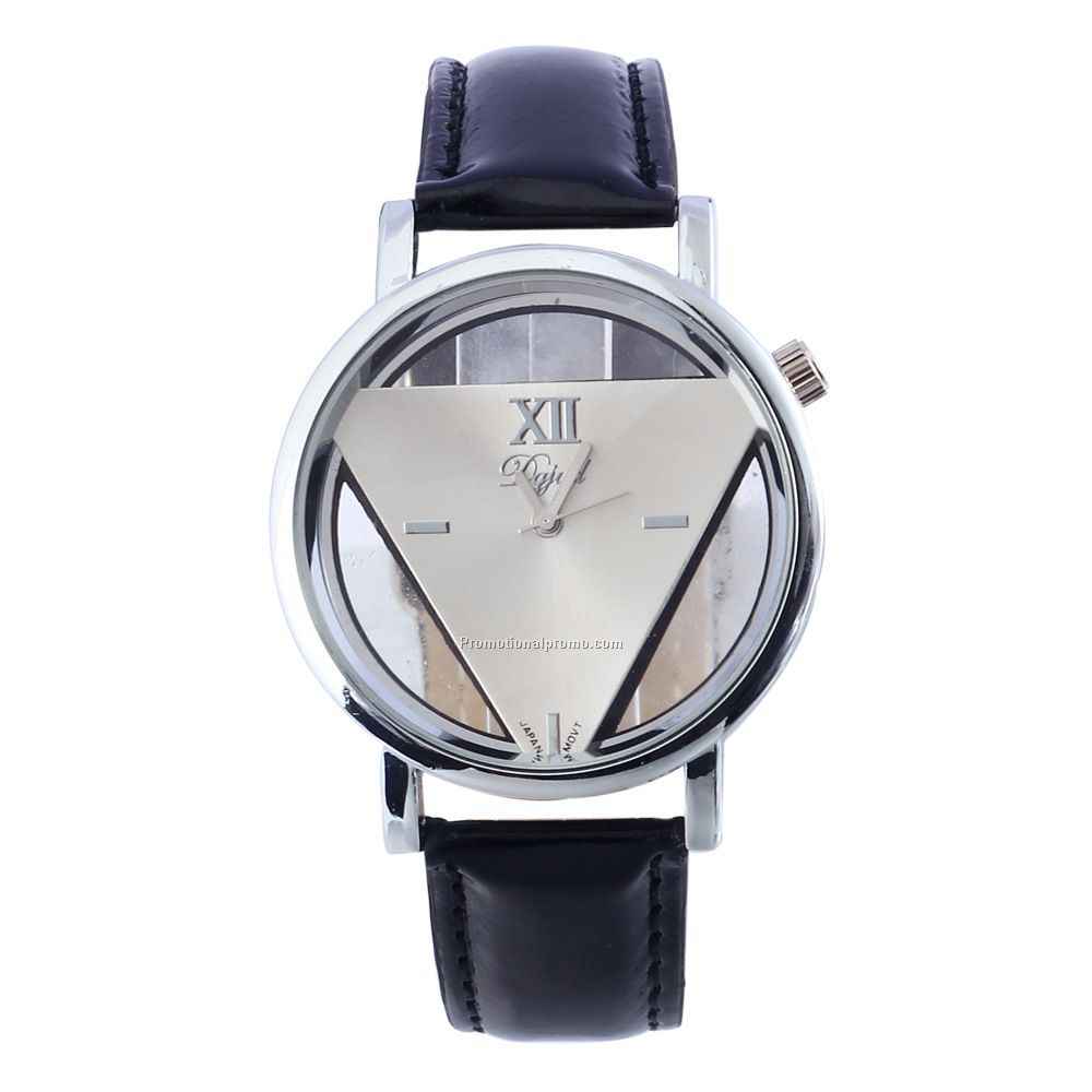 New Fashion Men Sport Leather Watches Triangle Hollow Out Ladies Wrist Quartz Watch