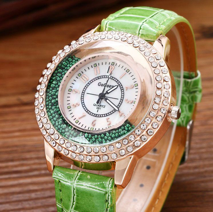 Luxury Fashion Quicksand Quartz Women Watch, Rhinestone Bracelet Wrist watch