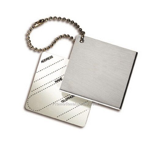 Brush stainless square metal luggage tags