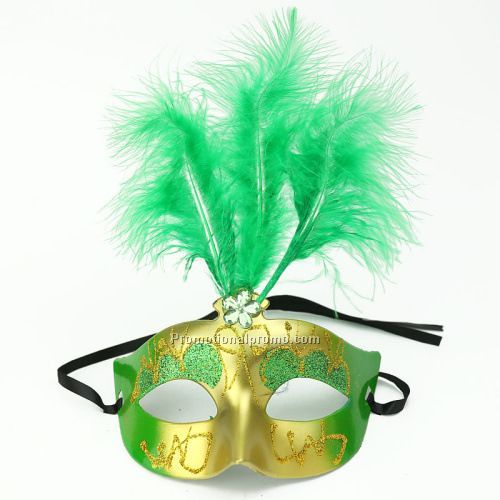 Plastic Green feather Holloween mask for party