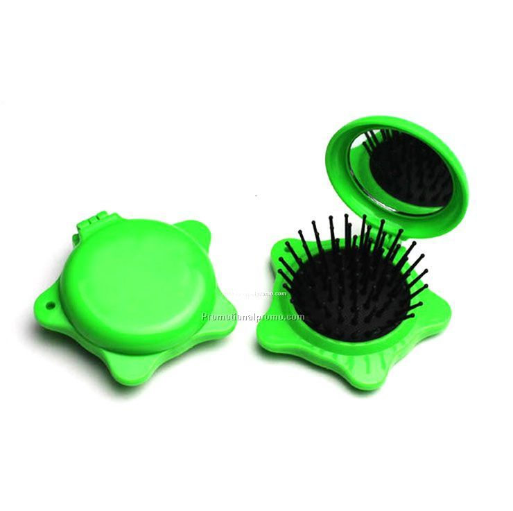 Star shaped mini hair brush with mirror