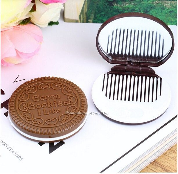 Portable Cute Chocolate Cookie Shape Cosmetic Mirror Make Up Mirror