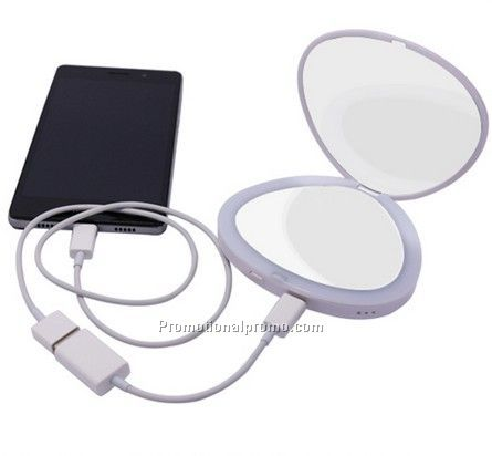 Multi-function shell shape LED mirror power bank