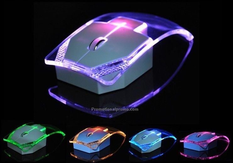 Wholesale Luminous Lights 2.4G Wireless Mouse, Transparent wireless mouse