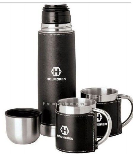 Stainless Steel Flask and Mug gift set with leather holder