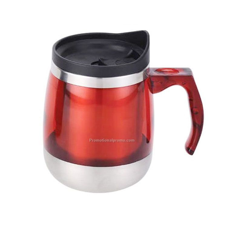 Stainless steel coffee mug with lid