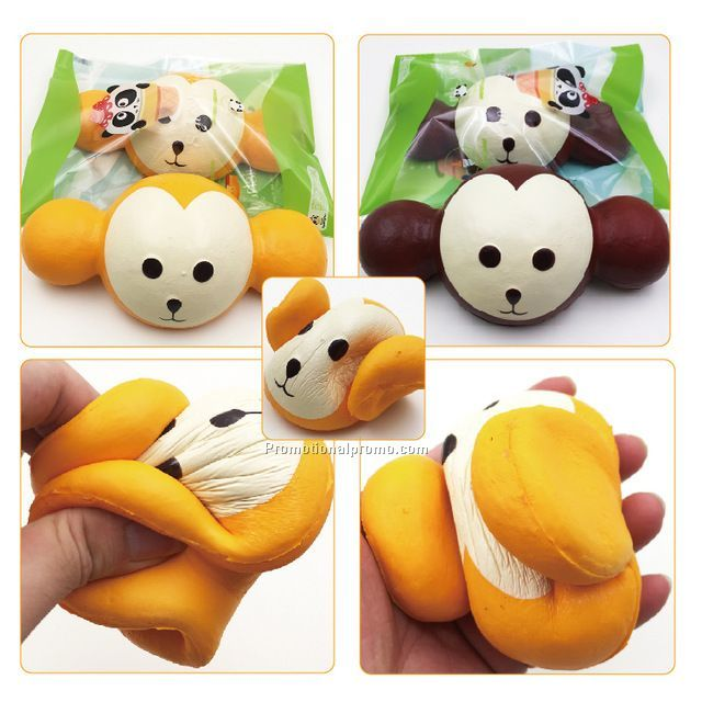 18CM Kawaii Jumbo Squishy Monkey Head Super Slow Rising Charm Scented Bread Cake Phone Straps Kids Toys Gift