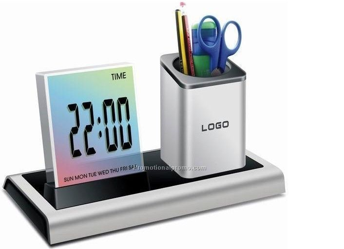 Pen holder with clock and thermometer