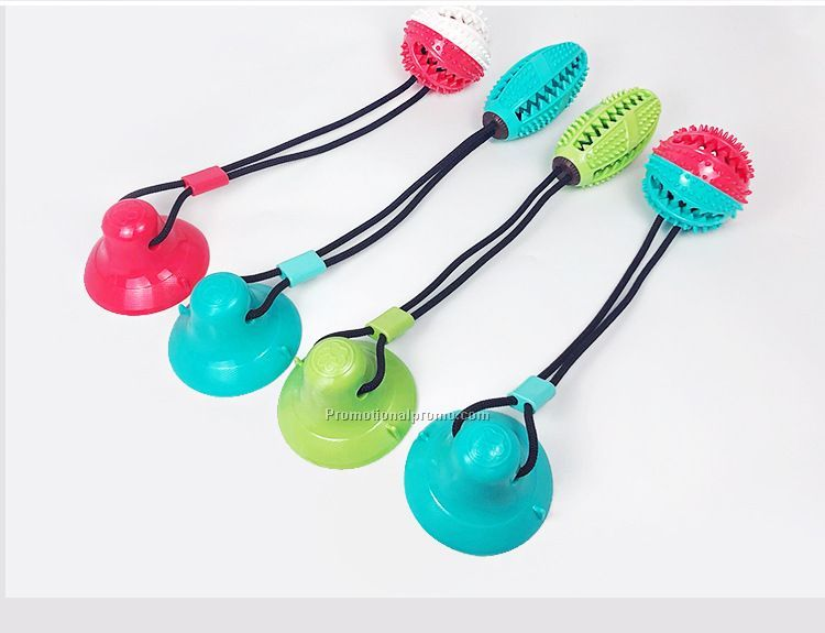 Multifunction Ball bell Pet Molar Teeth Safe Self-Playing Cleaning Dog Molar Stick with Suction Cup