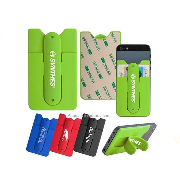 Debossed Printed Silicone Cell Phone Wallet with Kickstand