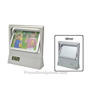 Photo Frame With Clock And Mirror