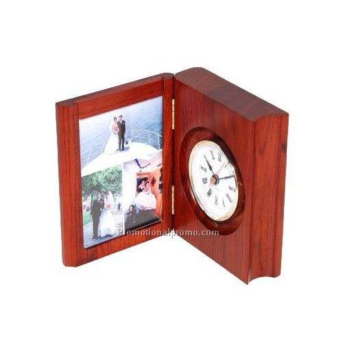Multi-function wood photo frame clock