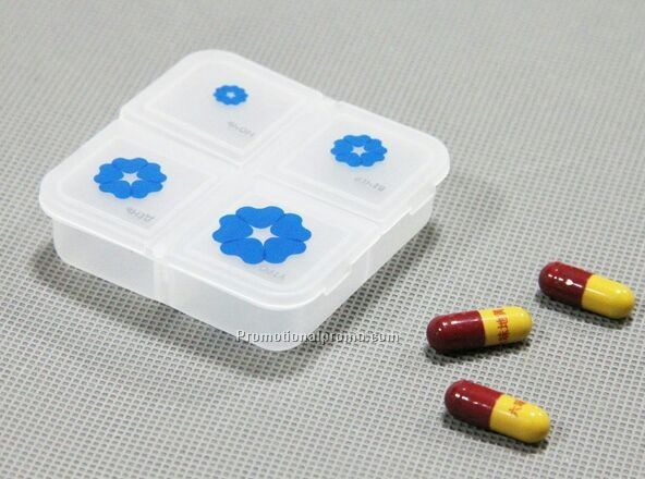 4 Compartments Pill Box Portable Daily Pill Dispenser Pill Holder