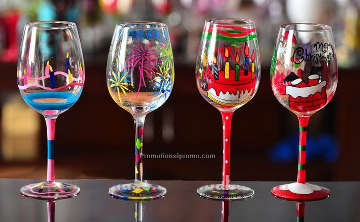 Christmas decorative handpainting with pattern wine glass for Decorative wine glasses cheap