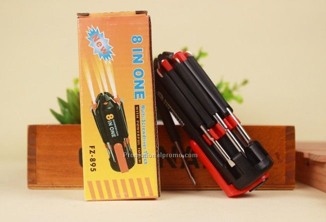 8 in 1 Multi-function Screwdriver Tool Set with LED Light Bulbs
