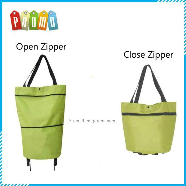 Dual purpose foldable wheel shopping trolley bag