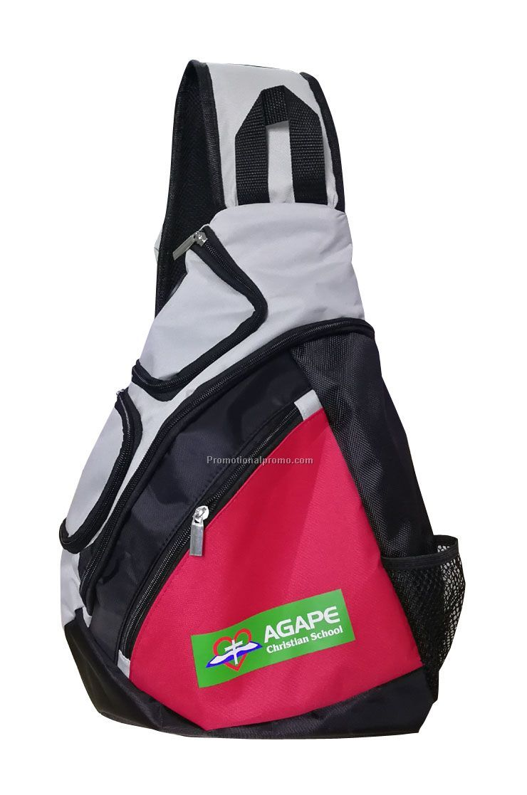 600D polyester shoulder sports triangle backpack, one strap backpack