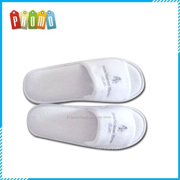 White Open Toe Terry Velour Unisex One Size washable Anti Slip Spa Slippers