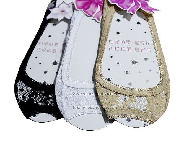 Lady's Cotton Open-Toe Invisible Lace Socks