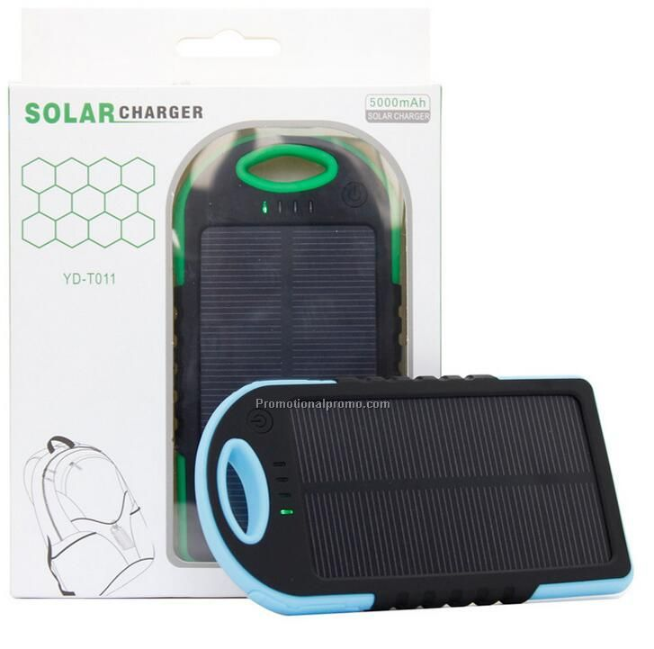 Waterproof dual port solar power bank charger