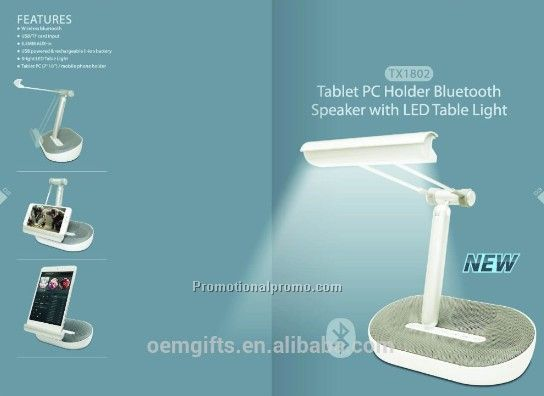 Multifunction Tablet PC Holder Bluetooth Speaker With LED Table Light Lamp