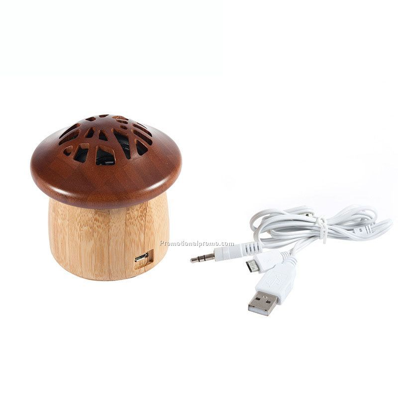 Promotional Gift Mini Mashroom Shape Wooden Bluetooth Speaker