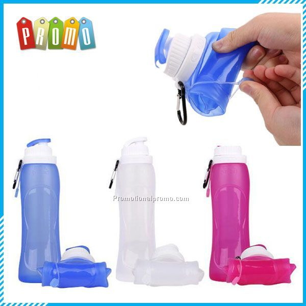 Portable silicone folding squeeze sport water bottle