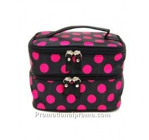 Double layer cosmetic bag makeup case