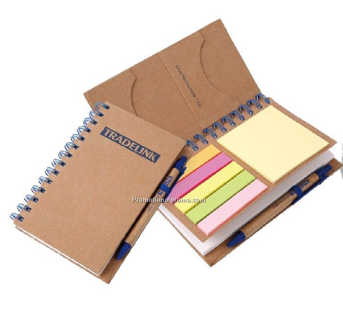 Recycled paper notebook with sticky notes and ballpen