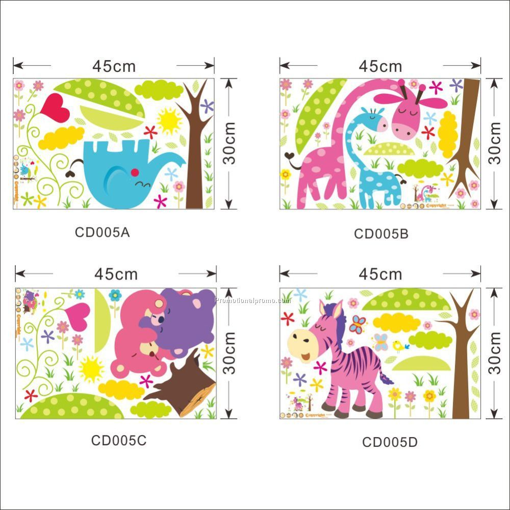 Cartoon Animal Forest Wall Stickers decals for Nursery and kids room Home decor 3d Wall Stickers