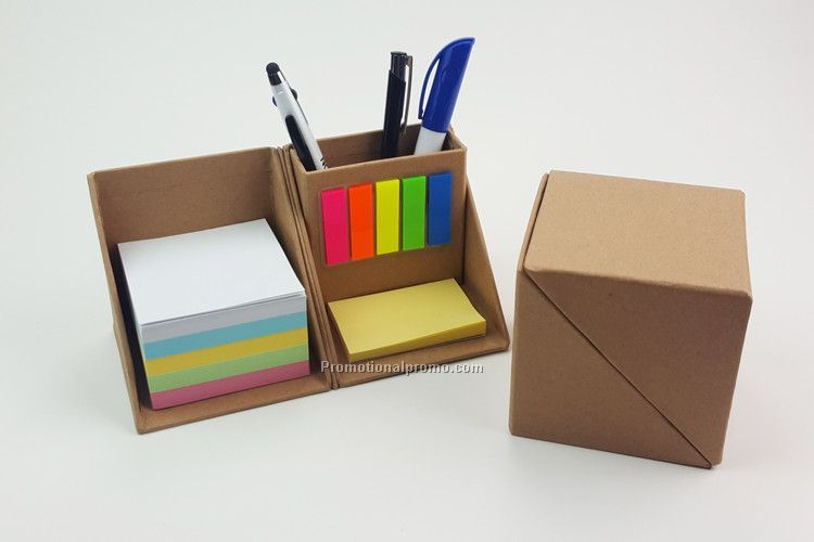 Cube Shaped Sticky Notepad With Pen Holder
